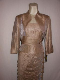 Jessica Howard Taupe Tiered Beaded Cocktail Dress Jacket 10P