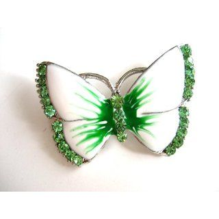 Epoxy Enamel Peridot Crystal Rhinestone Butterfly Fashion Jewelry Pin
