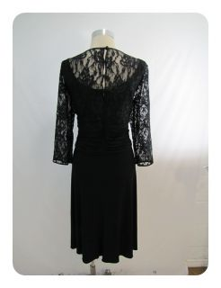 New J Howard Black Lace 3 4 Sleeve Scoop Neck Empire Waist Dress 16W $