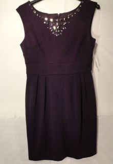 New Jessica Howard Womens Eggplant Beaded Ponte Dress Eggplant Size