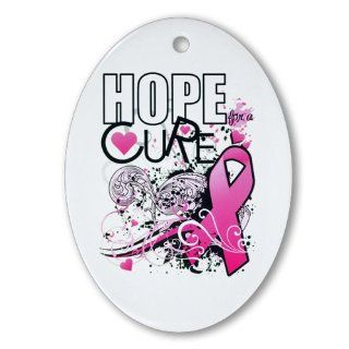 Ornament (Oval) Cancer Hope for a Cure   Pink Ribbon