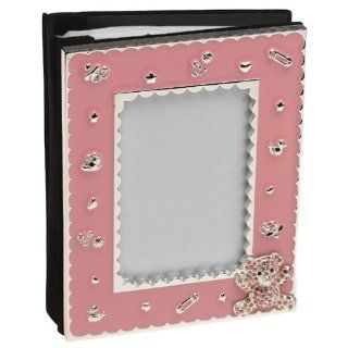 Enamel 4x6 Picture Frame With Swarovski Teddy Bear   Pink