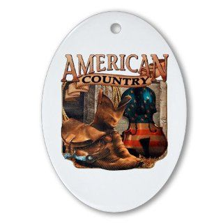 Ornament (Oval) American Country Boots And Fiddle Violin