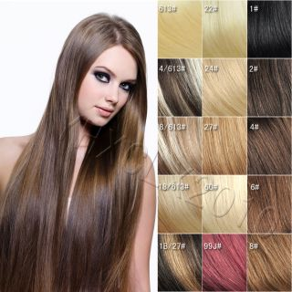 New 22 inch 55cm Clip in on Real Human Hair Extensions 7pcs 80g
