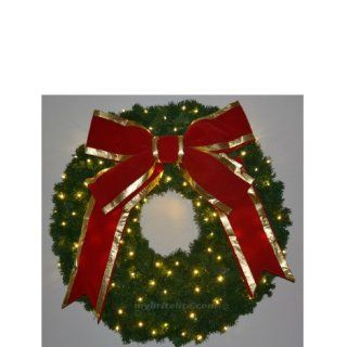 4 ft. Christmas Wreath with Red Bow   140 LED Lights. In