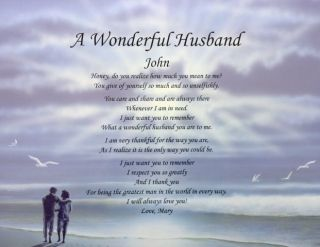Love Poem for Husband Anniversary Birthday Christmas Gift