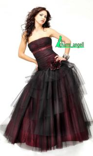 Black Wine Prom Dress Party Ball Gowns Size 6 16