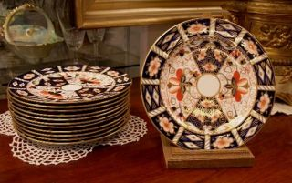 Estate Royal Crown Derby Imari Set 12 7 Plates Nice