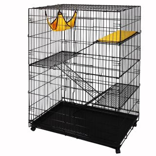 48x32x22 Large Cat Rabbit Pet Playpen 2 Door Cage Hammock Folding