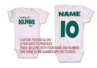 Dolphins Baby Onsie Romper Jersey Miami Shirt Fan Top