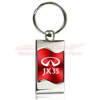 Infiniti JX35 Red Spun Brushed Metal Key Chain Key Ring Licensed Free