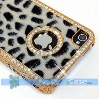 Black Cheetah Leopard Print Diamond Crystal Bling Case iPhone 4 4S NEW