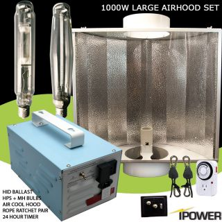 iPower 1000W 1000 Watt HPS MH Grow Light System Set Wing Air Cool Hood