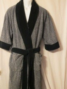 Irvine Park Mens Cotton Robe Bath Robe Black White One Size Fits Most