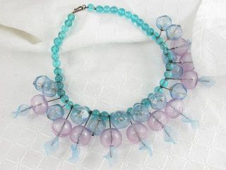 ITALIAN ART GLASS BEAD NECKLACE VINTAGE MOD ATOMIC MID CENTURY MODERN