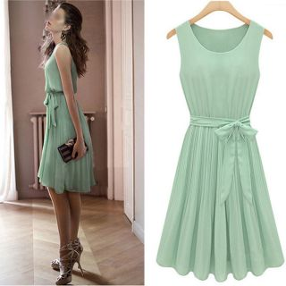 New Womens Fashion Pleated Chiffon Bow Belt Mint Green Sleeveless