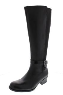 Naturalizer New Array Black Leather Stretch Block Heel Knee High Boots