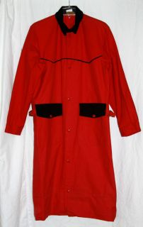 David James Mens Red and Black Western Cowboy Duster Long Coat Sz