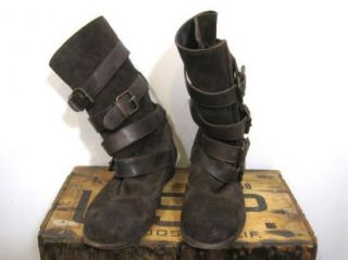 by Hudson Anthropologie Brown Leather Slouchy Buckle Boots Shoes