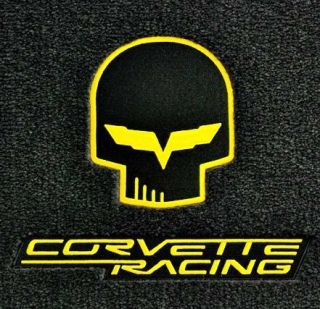 Lloyd Mats Velourtex Front Floor Mats Yellow Jake Corvette Racing Logo