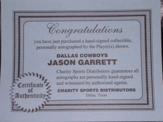 Jason Garrett Signed Autographed Cowboys Football COA