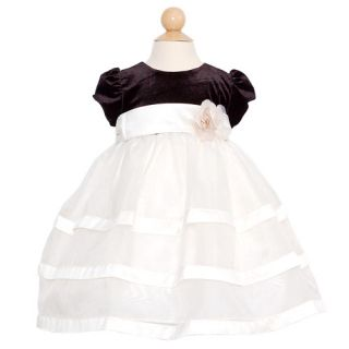 Jayne Copeland Baby Girls Size 24M Ivory Black Christmas Formal Dress