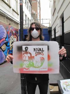Rival Sons Head Down Stencil Art Created by The Band Orange Vinyl