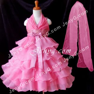 SB01 Flower Girl Pageant Formal Communions Party Gowns Dress Fuchsia 2