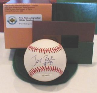 RARE Jerry Rice Auto Signed Baseball UDA Steiner