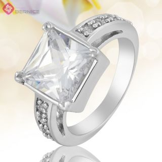 Lady Jewelry Square Cut White Topaz Gold Plated Cocktail Gift Ring 8 Q