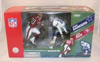 McFarlane NFL 49ers Jerry Rice Cowboys Deion Sanders 2 Figure Set New