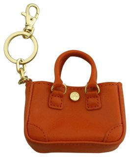 Tory Burch Robinson Small Tote Key Ring Orange Orchid New