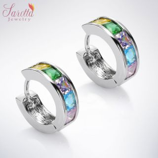 Jewelry Lady Yellow Pink Sapphire White Gold GP Hoop Round Earrings
