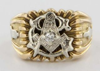 Gold Masonic Mens Diamond Ring Estate Fraternal Jewelry Sz 8
