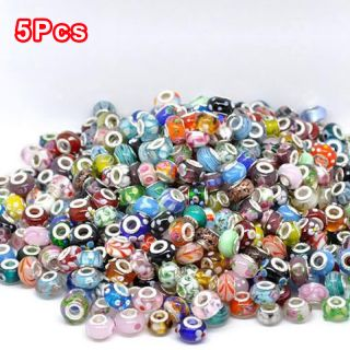 New Sale 5 50 100pcs Murano Glass Charm Spacer Beads Loose Finds Fit