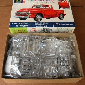 Vintage 1 25 Revell 1956 Ford Pickup Kit Unbuilt in Box Opening Doors
