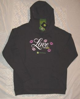 New Hoodie Womens Black Love John Deere Hooded Sweatshirt x XL XXL