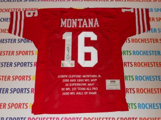 JOE MONTANA autographed signed 49ers red STAT Jersey Mounted Memories
