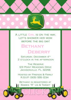 Boy Girl John Deere Inspired Baby Shower Invitation Pink Blue Yellow UPRINT