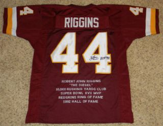 John Riggins Signed Autographed Washington Redskins 44 Stat Jersey w HOF 92