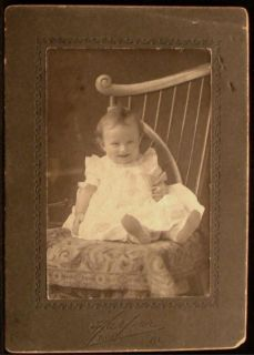 Antique Photo Tiny Baby Girl Laughing White Dress Feet Up by Harper Joliet IL