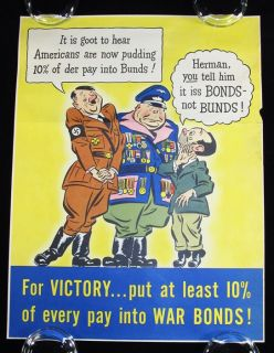 1942 WWII World War II Poster RARE Anti Axis Hitler Humor Cartoon Imagery Bonds