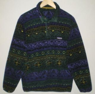 Vtg Unisex Patagonia Indian Aztec Tribal Print Fleece Sweater Jacket M Chest 43