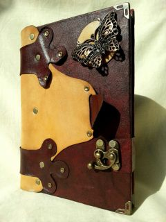Handmade Steampunk Leather Journal Notebook with Blank Pages