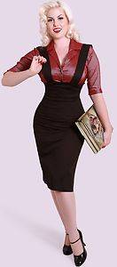 Bettie Page 1940's Judy Jumper Black Pencil Skirt w Suspenders Valentines XS 4X