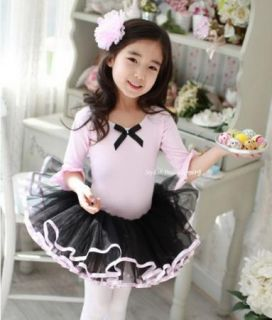 Girl Party Leotard Ballet Tutu Costume Dance Dress 3 8Y Middle Sleeve Pink Black
