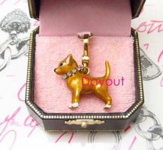 Authentic Juicy Couture Chihuahua Dog Animal Gold Bracelet Charm YJRUO815 rare