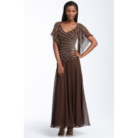 New J Kara Beaded Chiffon Mock 2 Gown Dress Brown 12
