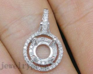5mm Solid 14Kt White Gold Diamond Semi Mount Setting Wedding Pendant
