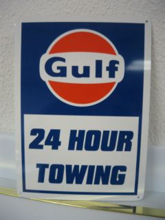 GULF 24 HOUR TOWING Pump SIGN GASOLINE Service Station Mechanic Free
